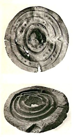 Late Bronze Age Shield : Clonbrin leather shield (up) and a wooden mould for shield from Churchfield- National Museum of Ireland
