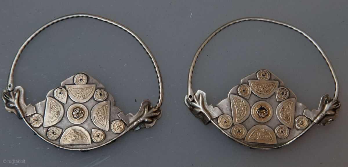 Turkmen   A pair of  Yomud earrings   Silver with gold wash.