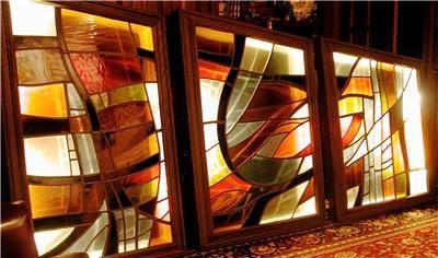 Superb Huge Art Stained Glass Panels Philadelphia PA Mid Century Modern .