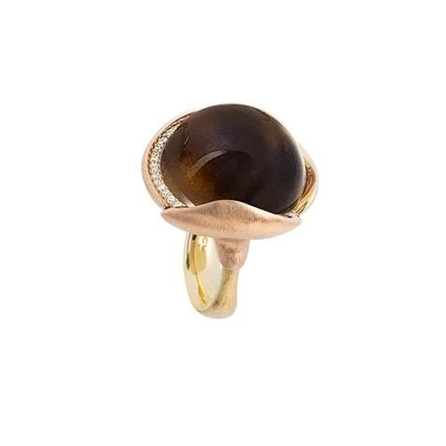 Ole Lynggaard Copenhagen - Lotus Ring str. 4 - 18 karat guld m/røgkvarts og brill. A2653-403