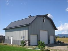 Barn Living Pole Quarter With Metal Buildings | Mid-Size Shop Buildings | Steel Buildings | Metal Pole Buildings Love how they put stone on the bottom #steelbuildings