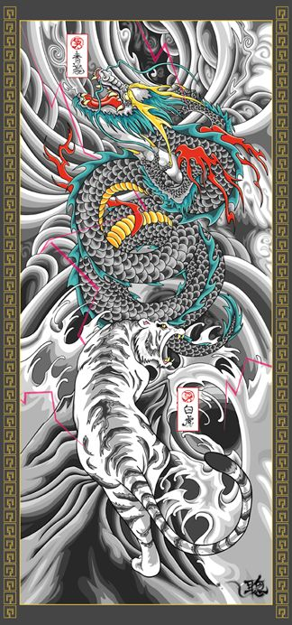 Green Dragon Vs White Tiger In 2020 Tiger Tattoo Sleeve Dragon Tiger Tattoo Green Dragon