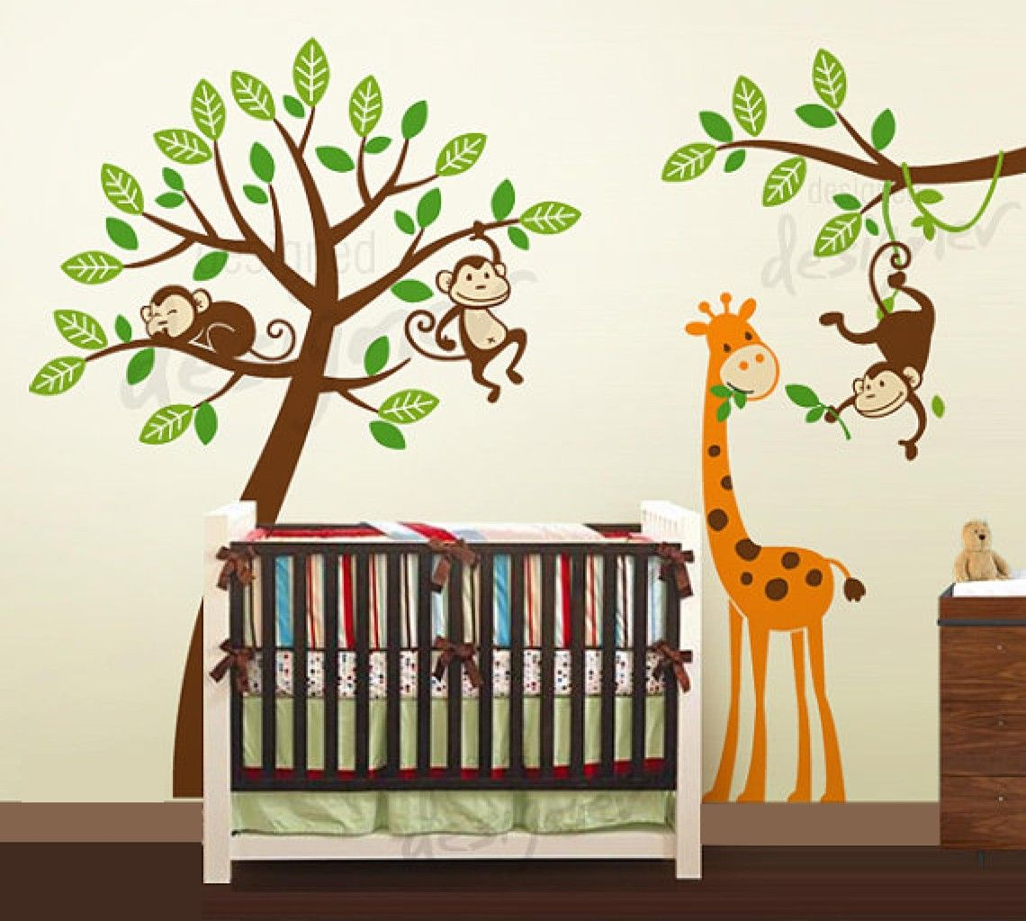 Jungle tree with monkeys and giraffe wall decal wall sticker jungle tree with monkeys and giraffe wall decal wall sticker kids wall stickers amipublicfo Image collections