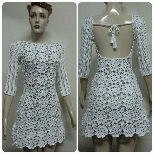 4b067f1d9 By Mariza Crochet Designer  Vestido Crochet Curto Costas . By Mariza Queiroz