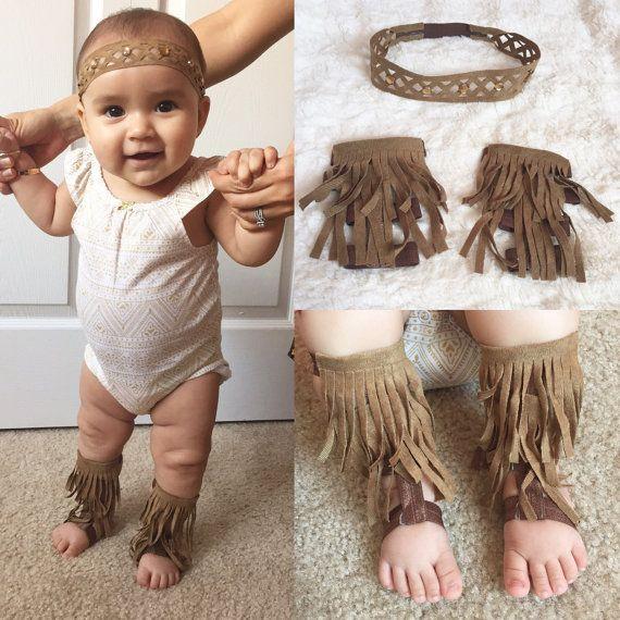 Fringe baby gladiator sandals and