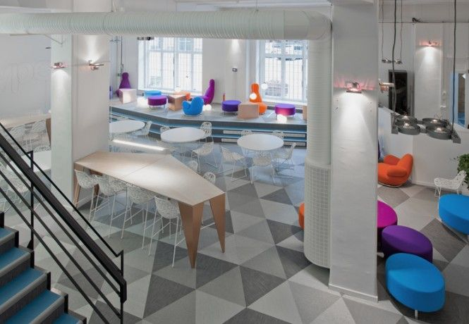 Interior design concept skypes stockholm office sparks with contrast