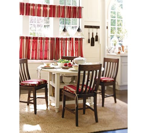 Stripe Cafe Tier Curtains In Red