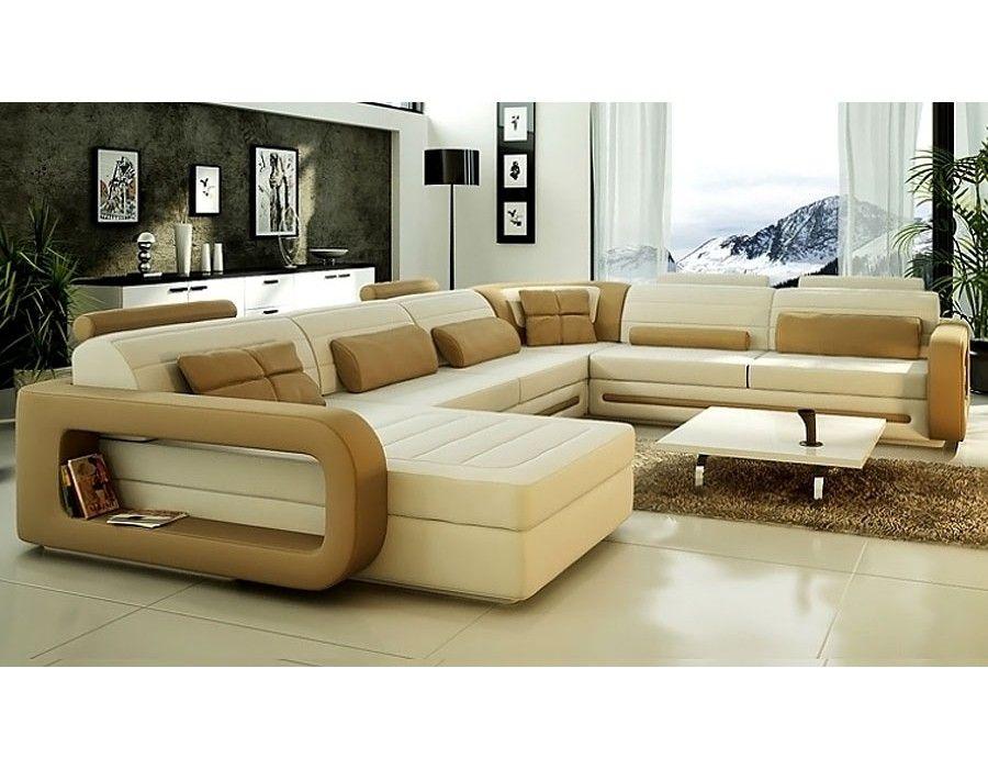 U Shaped Genuine Leather Sectional Sofa CL S8592