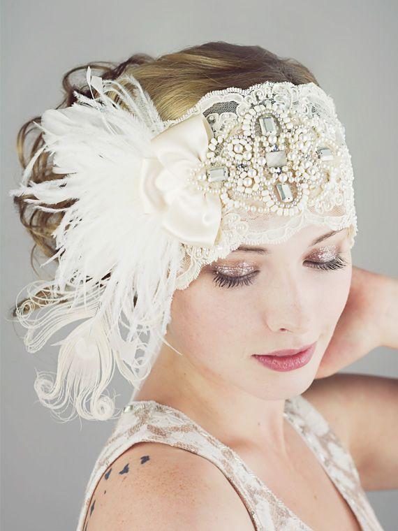 58f4ab8fbd107 Gatsby Ivory Lace Flapper Feather Headband   Bridal   Deanna DiBene  Millinery Más