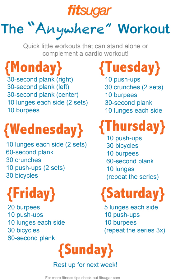 Busy Week? Here's Your Quick 7-Day Workout Plan | Home ...
