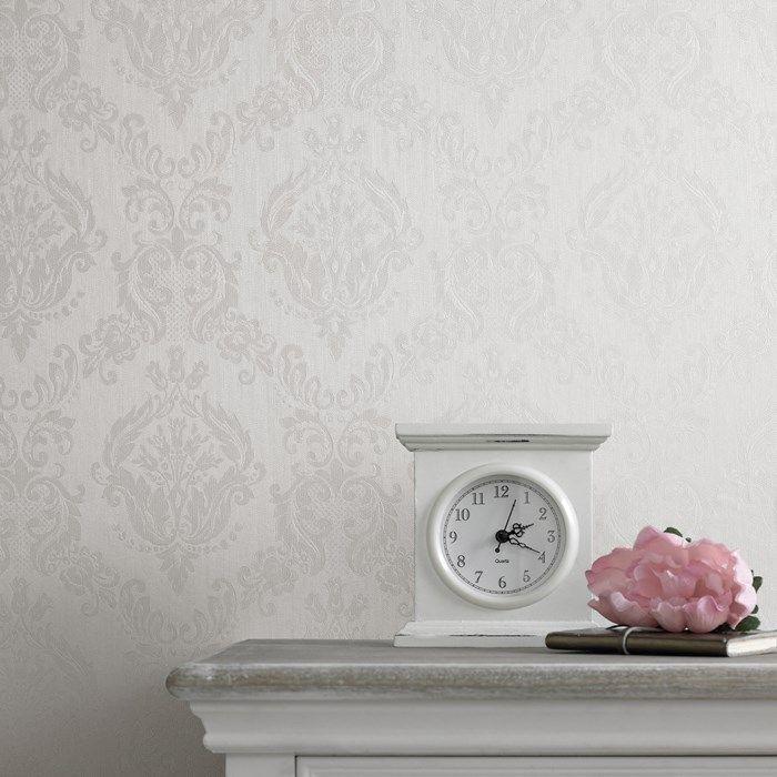 Damask White Shimmer Damask Wallpaper Living Room Damask Wallpaper Geometric Floral Wallpaper