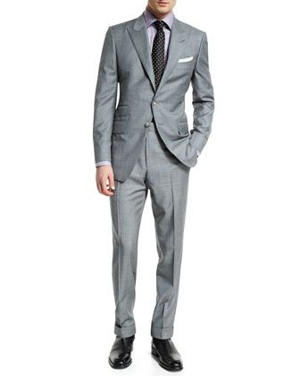 3115478f1b5a O\'Connor+Base+Sharkskin+Two-Piece+Suit,+Dress+Shirt+&+Tie+by+TOM+FORD +at+Neiman+Marcus.