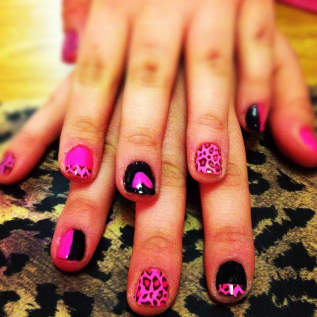 Pink and cheetah! #nails #pink