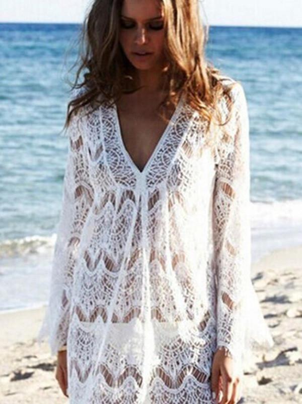 22f868b464219 Elegant White Lace Long Sleeve V Neck Cover-up Tops | Oshop live ...