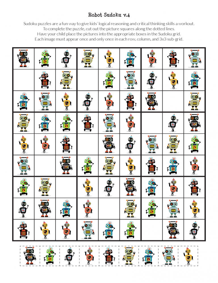 Robot Sudoku Puzzles free printables is part of Sudoku puzzles, Sudoku, Puzzles for kids, Puzzle, Robot, Critical thinking skills - Grab a copy of these FREE printable Robot Sudoku Puzzles for kids