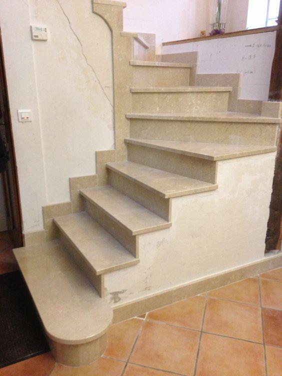 rénovation du0027un escalier Pose des marches et des plinthes en marbre