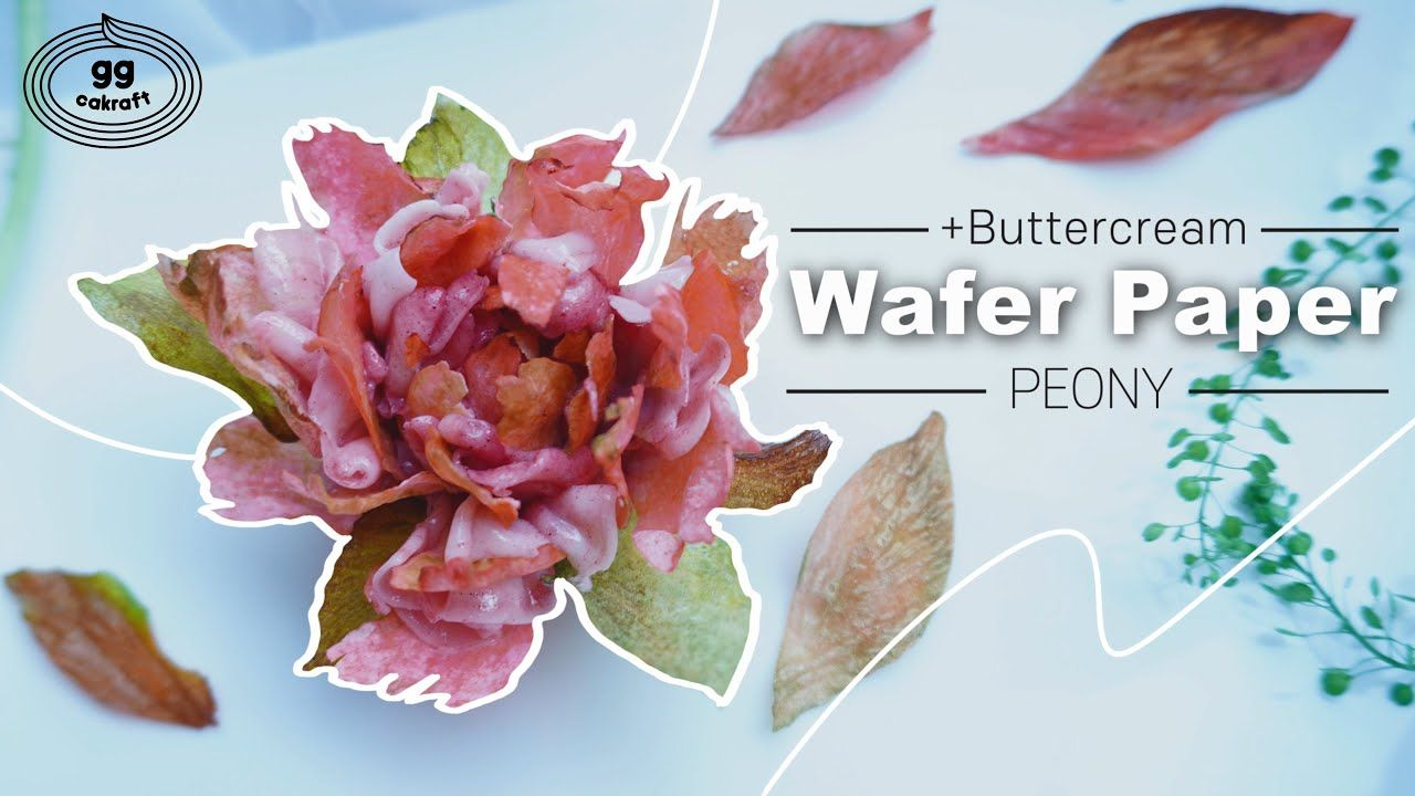 How to pipe the Wafer Paper Peony (Korean Buttercream Flowercake ) #flow...