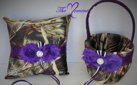 Realtree Camo Wedding Flower Girl Basket With Plum, Purple Camo, Camo  Wedding Ring Bearer Pillow, Realtree Max 4 Camo With Plum Purple