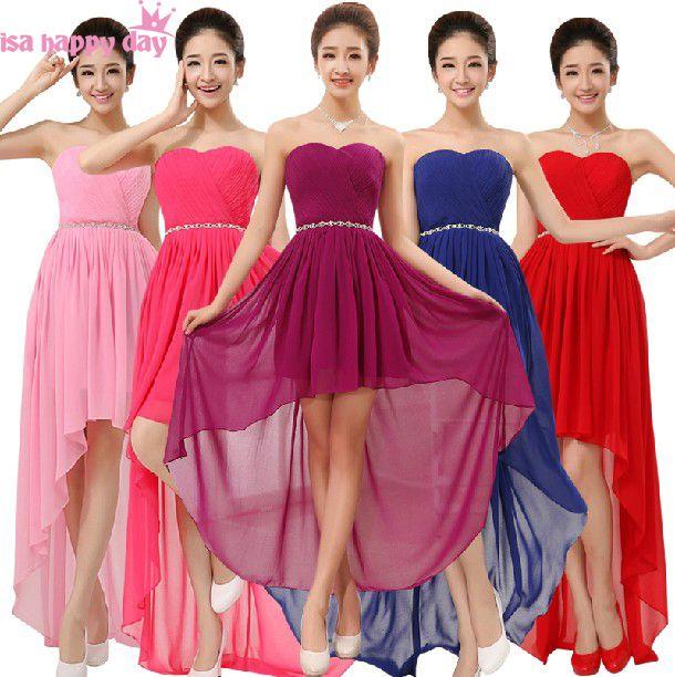Azul rojo vestido de dama novias dama de honor del cuello del amor ...