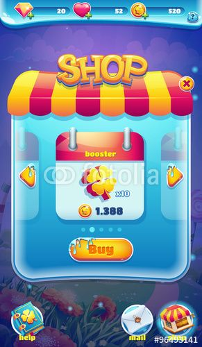 Вектор: Sweet world mobile GUI shop screen video web games