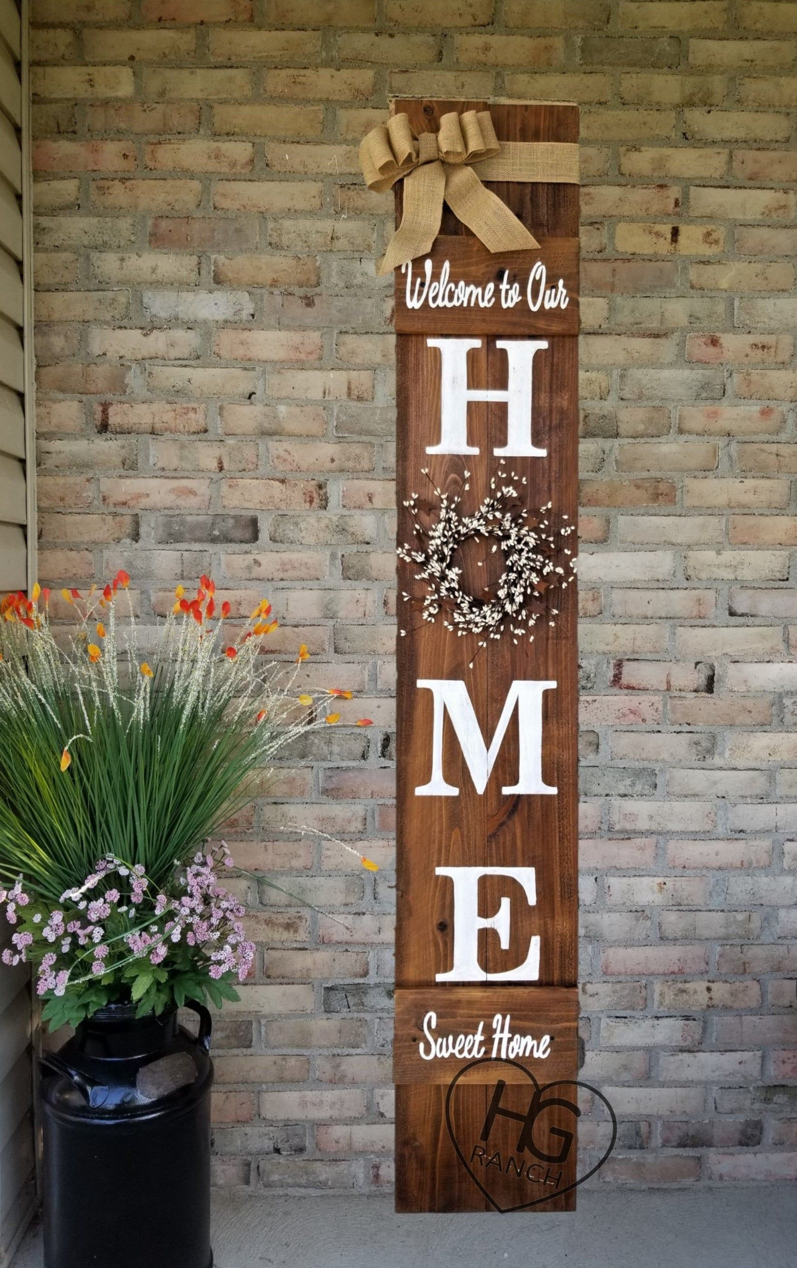 6' Porch Sign HOME Welcome Sweet Home Farmhouse Spring Summer Fall Rustic Double Pip Berry Wreath Hand Painted ~ Wood