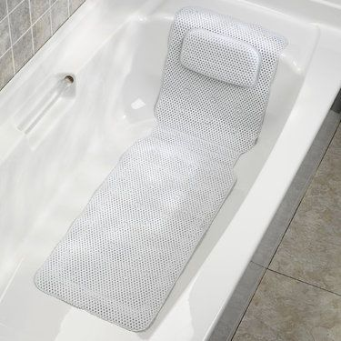 Deluxe Foam Bathtub Mat With Spa Pillow Bathing Spa