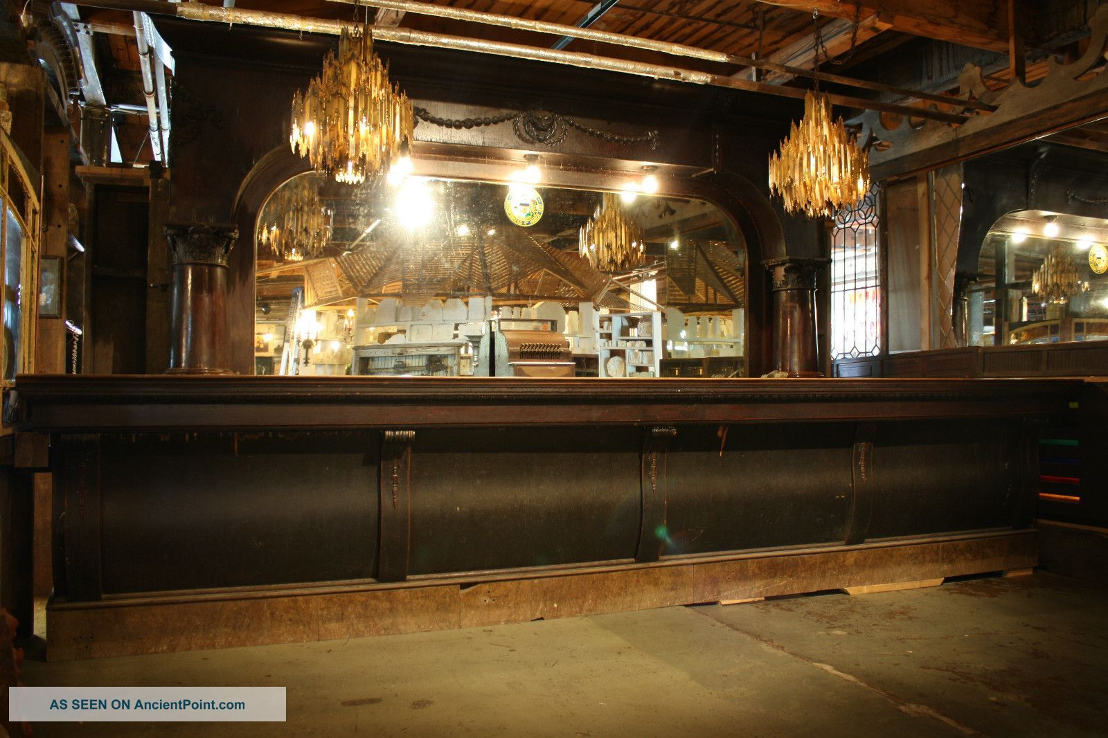 Antique Front and Back Bar by Chas Passow Sons Turn of the