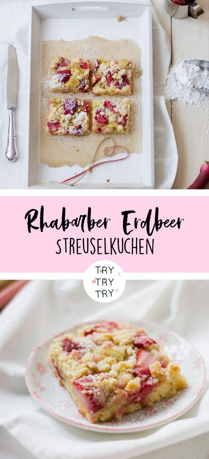 Rhabarber Erdbeer Streuselkuchen vom Blech #easypierecipes