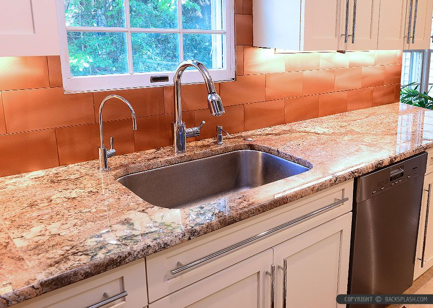 Beige kitchen cabinets with Typhoon Bordeaux Granite countertop. Copper  backsplash tile for modern kitchen ideas - Beige Kitchen Cabinets With Typhoon Bordeaux Granite Countertop