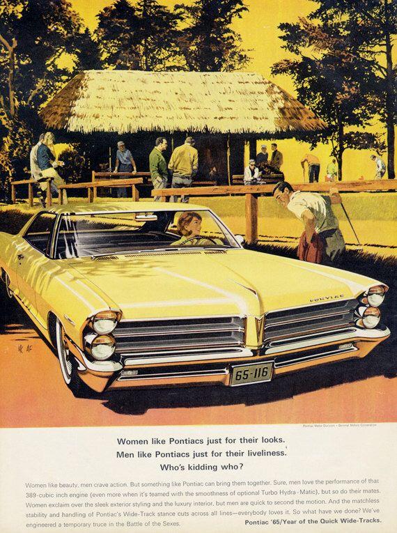 1965 Pontiac Bonneville Classic Car Ad \'60s Wide-Track Yellow ...