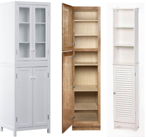 White Bathroom Furniture Storage Cupboard Cabinet Shelves: Tall Bathroom Storage Cabinets Pictured
