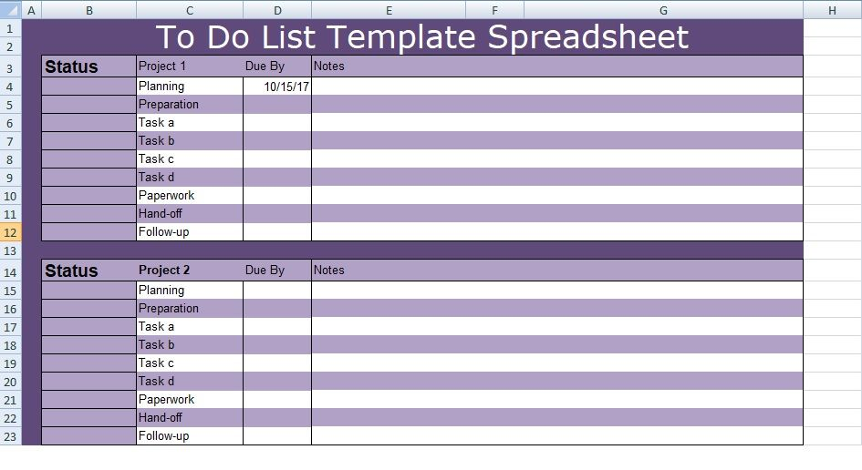 To Do List Template Spreadsheet Excel Spreadsheets Templates