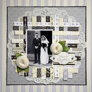 elegant heritage layout with woven paper background.