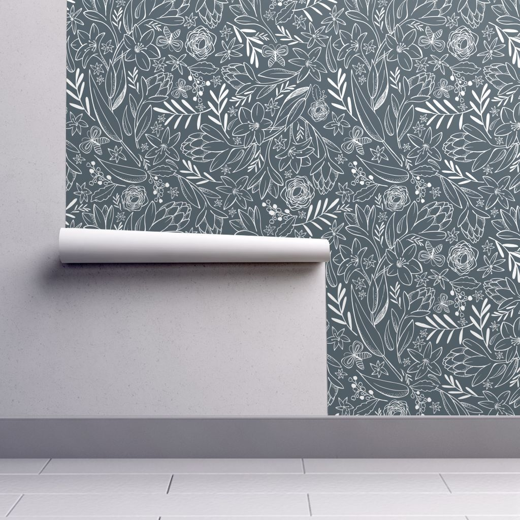 Pin By Leslie Powers On New House In 2020 Floral Wallpaper Botanical Sketchbook Wallpaper Roll