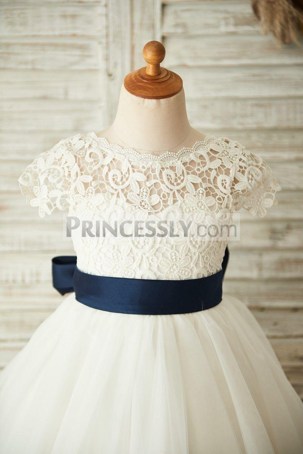 Short sleeves v back lace tulle wedding flower girl dress with navy