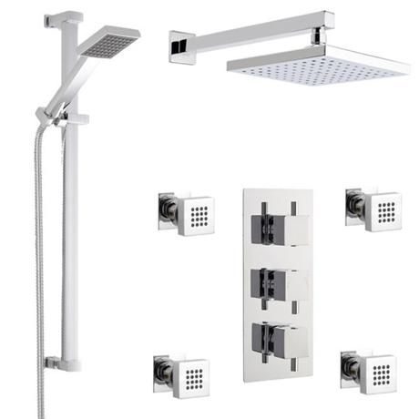 Milan Square Triple Shower Valve With Diverter Fixed Head 4 Body