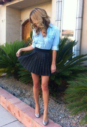 jean shirt & pleated skirt