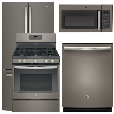 GE® GDT655SFLDS 4pc. Gas Kitchen Package Slate