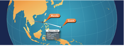 April 11th Manila to Guam  Flight TIme 11hours and 39 minutes  Statute Miles 1,597.70