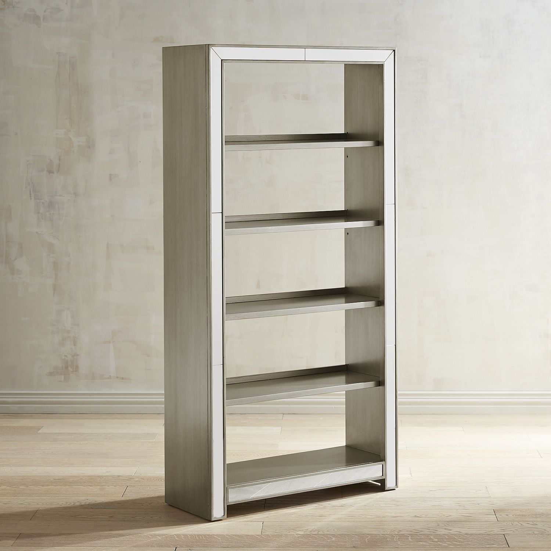 Alexa Mirrored Tall Bookshelf Silver