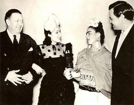 Diego & Frida with Dolores del Rio & Orson Welles, Mexico, 1942