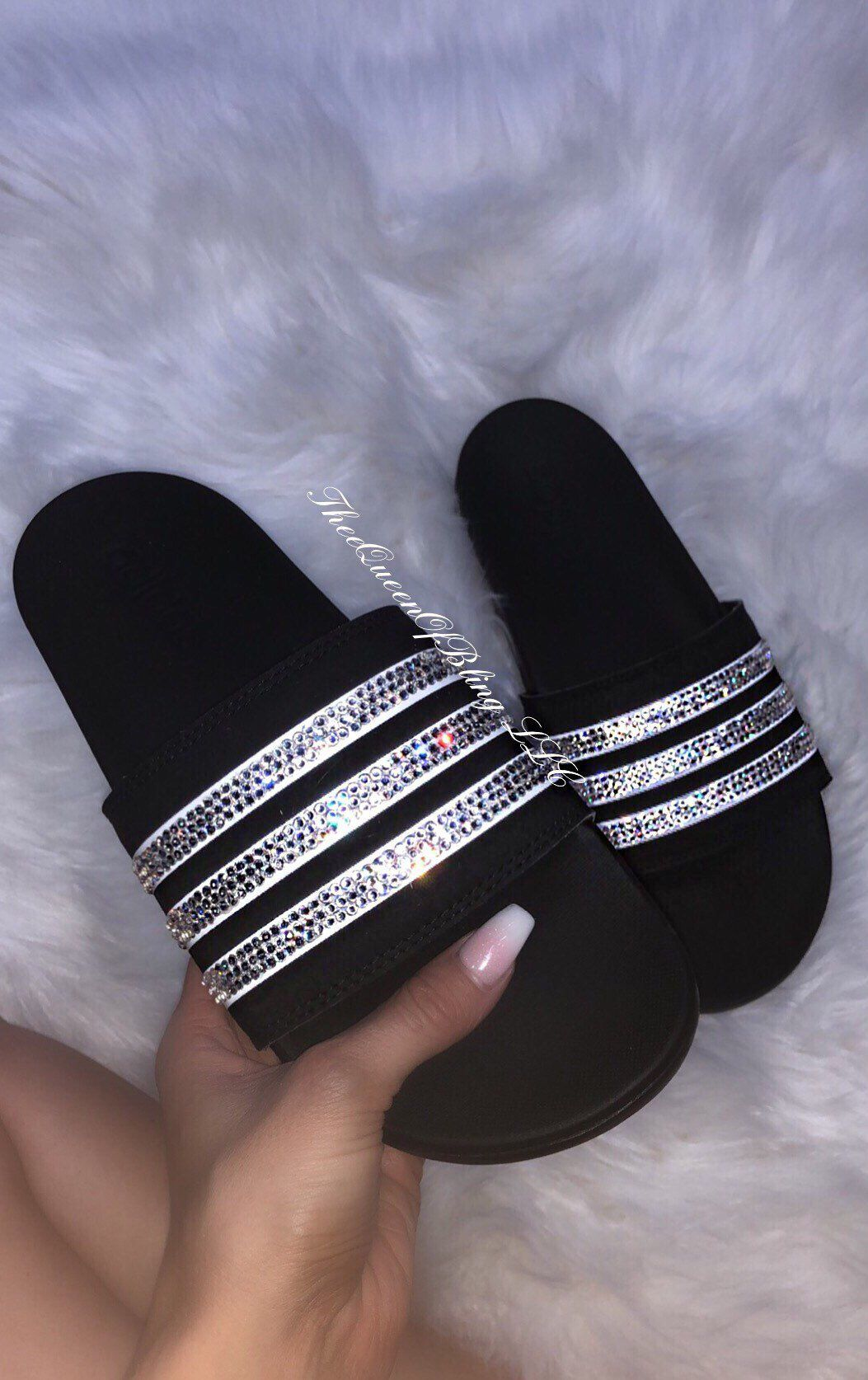 Womens Adidas slides with SWARVOSKI crystals Adidas