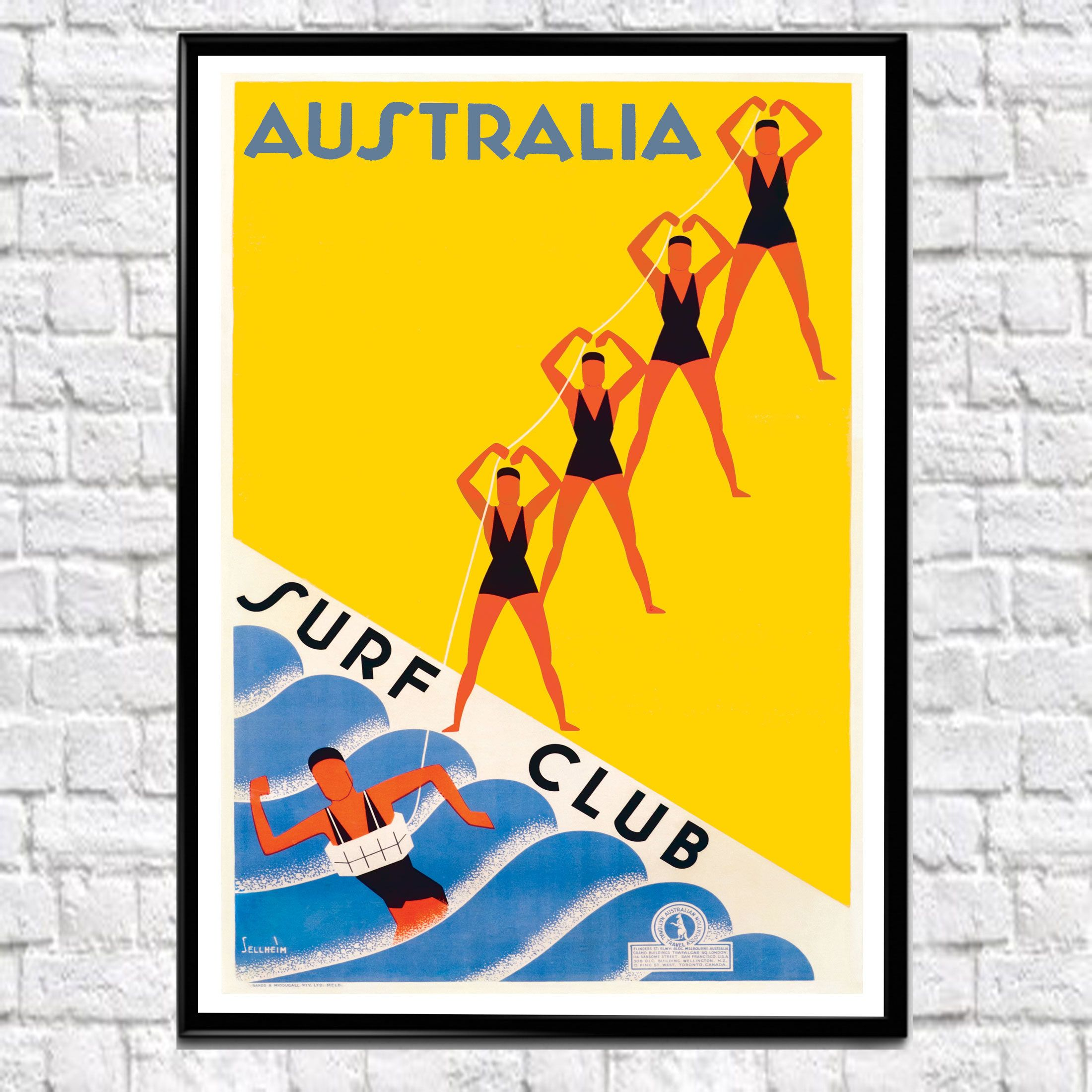 Australian Travel Wall Art Vintage Australian Poster Surf Travel ...