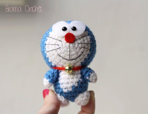 Amigurumi Doraemon Free Pattern : Tiny doraemon amigurumi crochet doll plush by bramacrochet $13.69