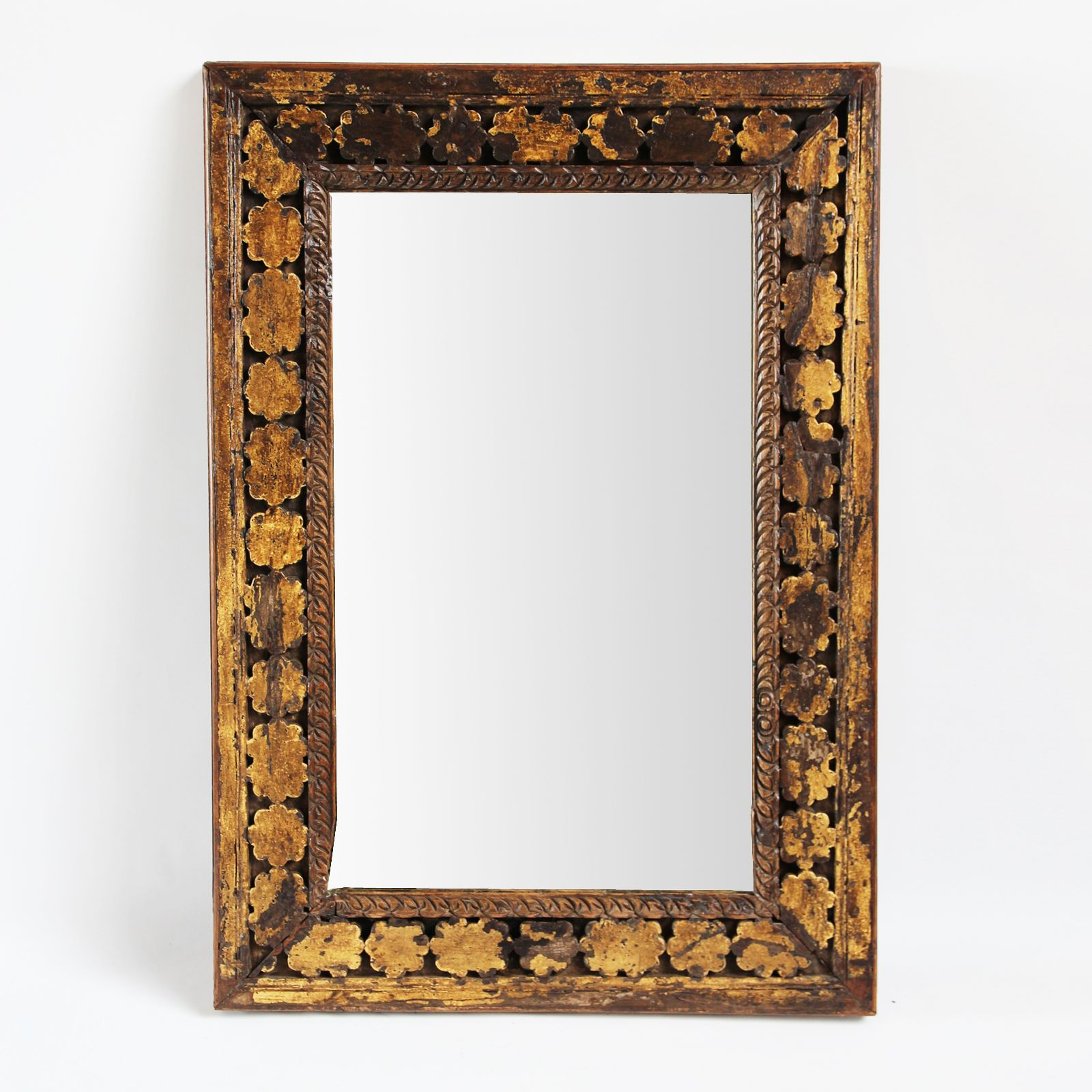Vintage Carved Wood Architectural Mirror Frame Carved Floral Wood Border With Aged Yellow And White Patina Home De Unique Mirror Frame Unique Mirrors Mirror