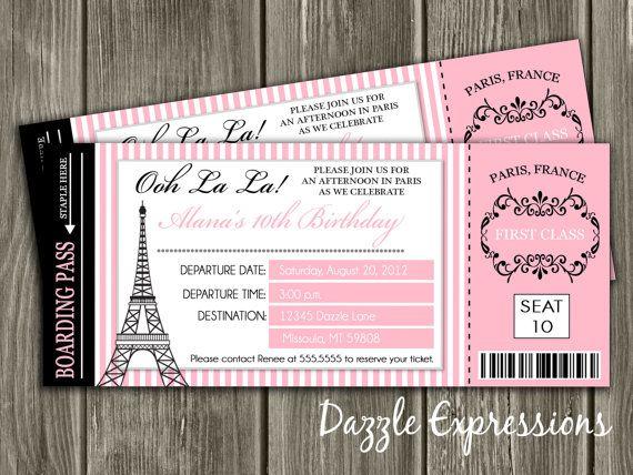 Paris Boarding Pass Birthday Invitation Free By