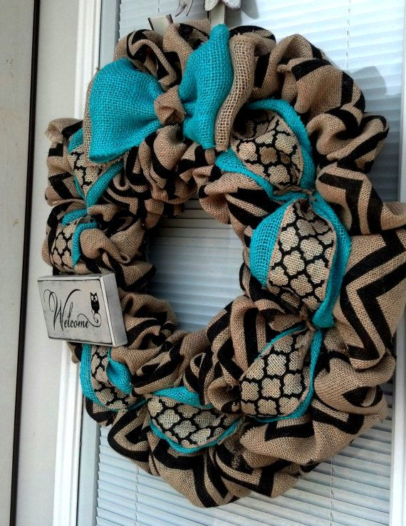 turquoise Wreath Black and Natural Chevron Winter Wreath All Year Wreath Home Decor Front Door Wreath Burlap Wreath