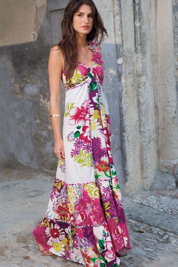 noch eine Chance Großhandelspreis 2019 besondere Auswahl an sommer idee kleid lang blumen bunt damen styling | Kleid ...