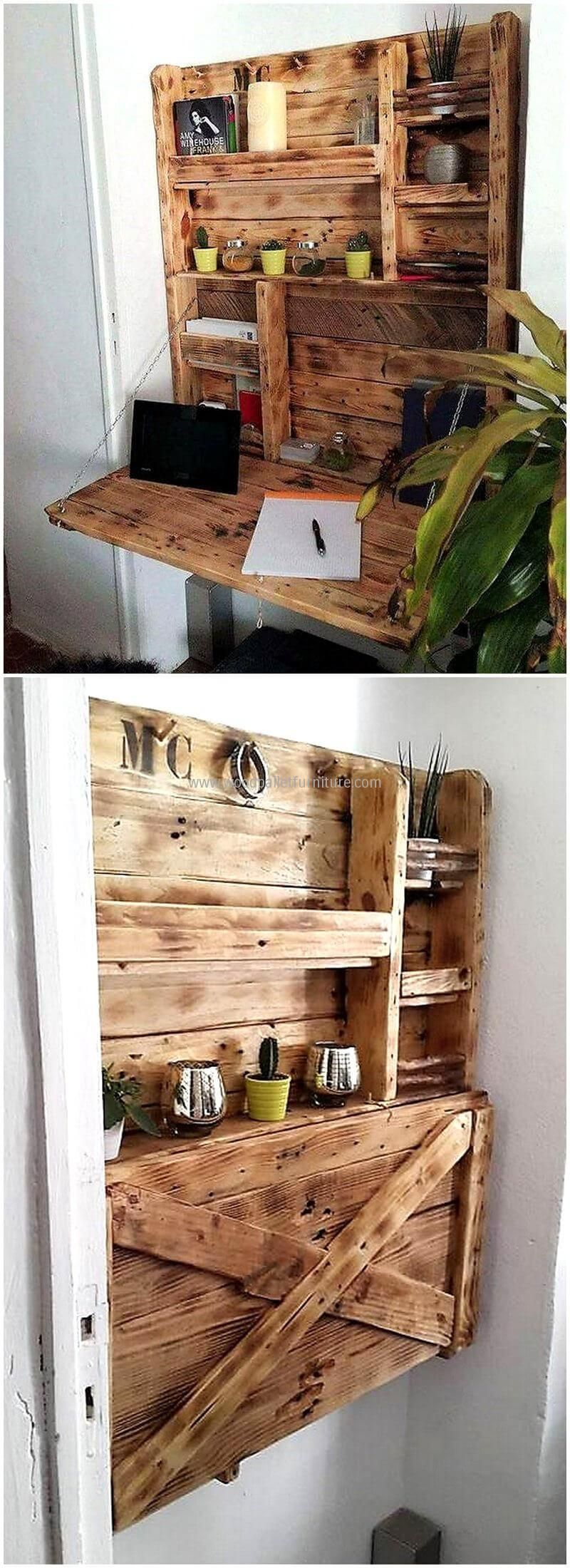 Pallets folding desk cum shelf pallet ideas pinterest folding