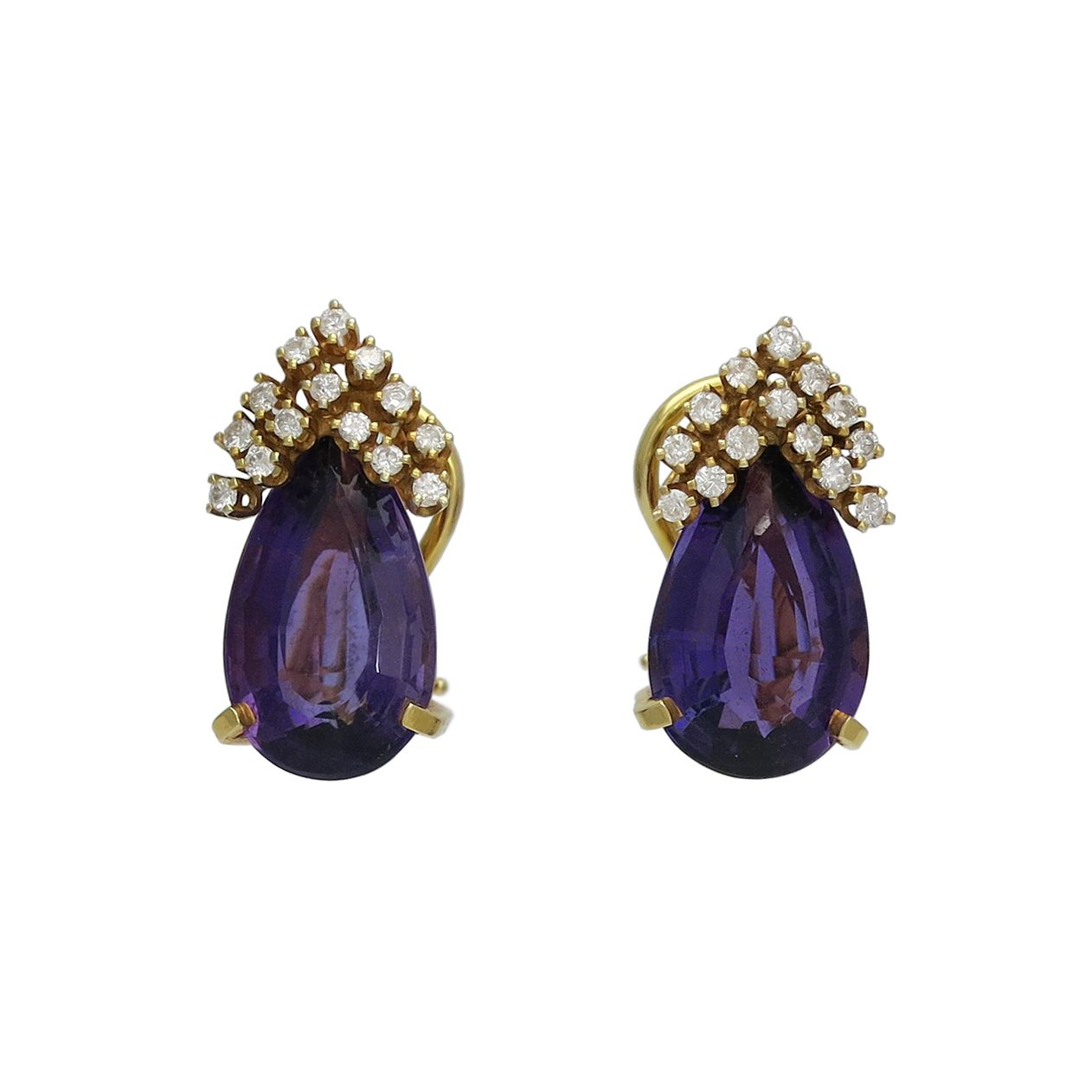 Vintage 14K Gold Amethyst and Diamond Clip Back Earrings, c. 1970s. $1250